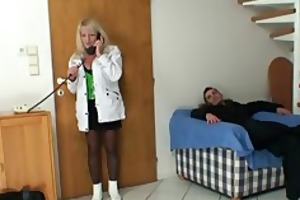 blonde grandma in black stockings copulates