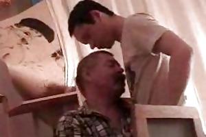 handsome twink gets his boner sucked by older dad