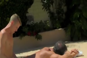 hot twink daddy poolside prick