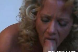 horny milf sucks and copulates a giant rod