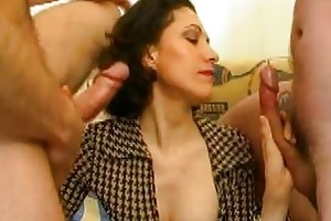 lascivious young bitch gets drilled by two