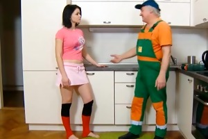 wicked teen girl pays an old repairman for work