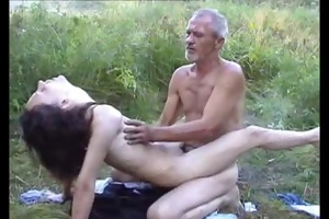ugliest oldman fucks anorexic beauty in the woods