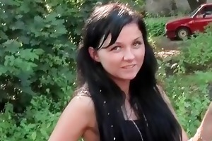 youthful european slut shows tits in public pickup