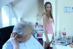 old man bonks his juvenile dummy blond maid
