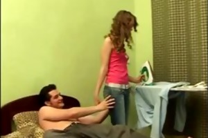 sexually excited euro teen stripped and caressed