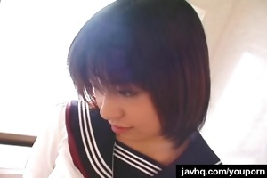 juvenile japanese schoolgirl gives her first