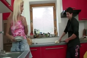 he is copulates blonde motherinlaw at the kitchen
