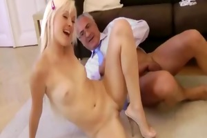 old man fucks young pussy doggy position