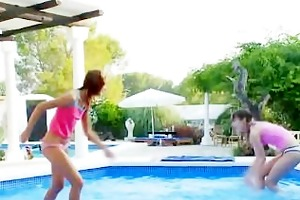 enchanting pool masturbation of friends