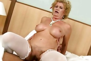 nasty old maid acquires drilled by boy