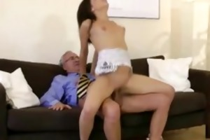 young brunette screwed by old boy on sofa