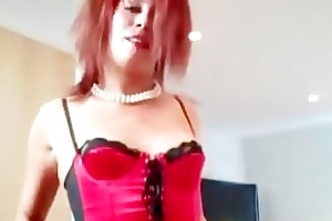 redhead in lingerie and nylons masturbating