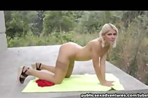 naughty blonde engulfing outdoors