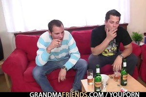 mature lady is lured into drunk three-some