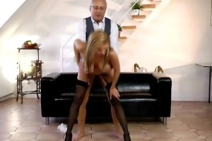stockings honey screwed by elderly gentleman