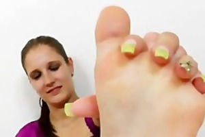 footjob from a young brunette