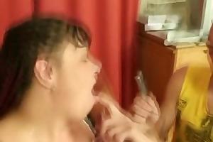 plump bitch takes two ramrods pov