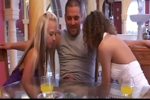 two lustful chicks fucking with rich lad friends