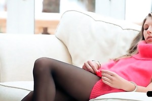youthful golden-haired has playtime with her wet