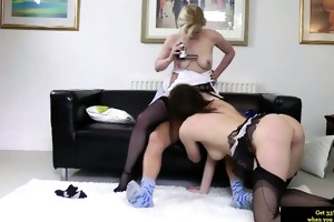 classy british women trio fun with horny old man