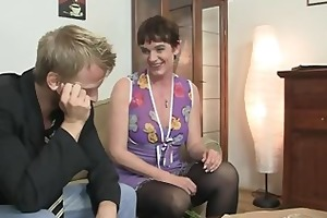 her hairy old cunt gets drilled by unbending