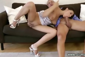 horny juvenile girl gives bj to old man