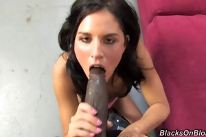 youthful white gal creampied by black fellow