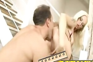 sexy blonde milf in glasses fucked