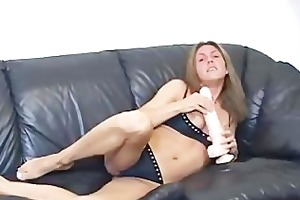 rubbing a biggest sextoy betwixt jerk off