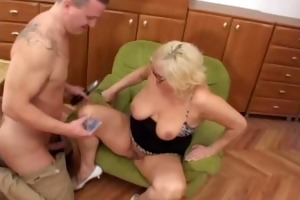 chunky blonde granny fucks younger boy
