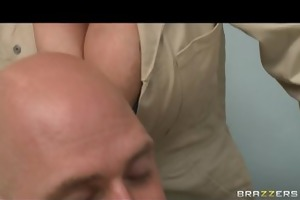 large tit sexy golden-haired in uniform is fucked