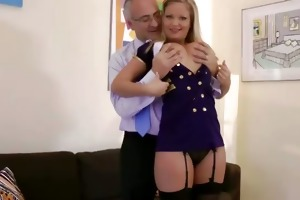 hot chic golden-haired sucking old cock for this