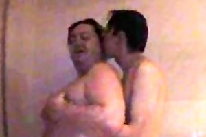 young skinny homo and chubby dad banging beneath