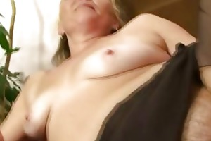 excited granny opens hairy cum-hole for hot