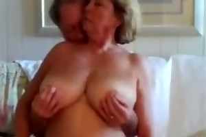 old stud with very old granny on web camera skype