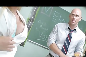 cute & playful blonde schoolgirl fucks her