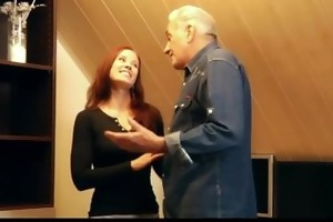 grandad gets sexual thanks from hussy redhead