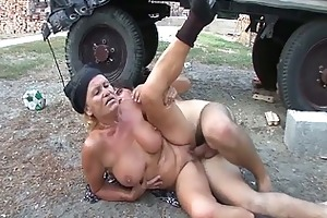 sexually excited granny receives her soaked