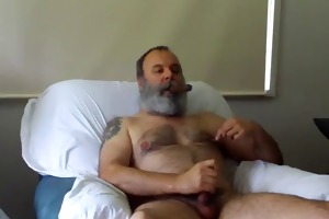 bear dad smoking and jerking off