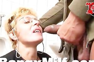 horny milf irrumation and facial in washroom