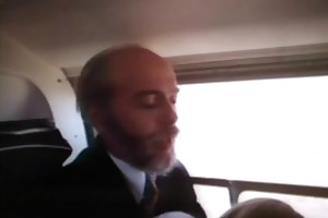 this old man acquires a blowjob in an airplane