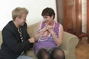 her bushy old pussy receives hammered !