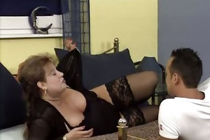breasty old woman gets horny getting her