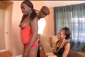 mommy and daughter banged a darksome man