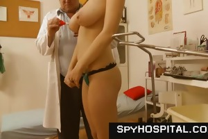 chesty brunette doctor check-up voyeur video
