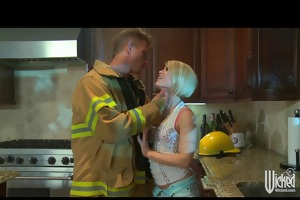hot golden-haired chick fucks firemans large dick