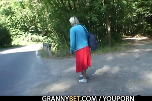 he is picks up and bangs granny outside