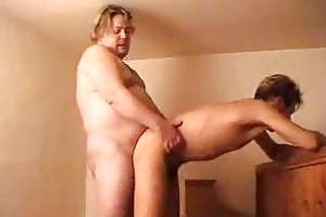 overweight dad pounds his younger partner