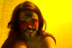 legal age teenager with face makeup fingering her